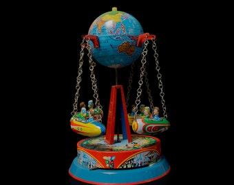 Tin toy merry-go-round caroussel - Globe - J.Wagner - W.-Germany - lever wind up - collectible