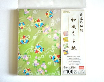 Set of 100 Sheets of Traditional Japanese Yuzen Chiyogami Paper, Origami Paper, Japanese Washi Paper, Wrapping Paper