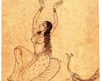 Indian miniature sketch of painting pencil art fine portrait of beautiful Indian women collectible