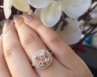 14K Rose Gold, Cushion Cut Checkered Morganite Ring with Diamond Stones Style # L-4999