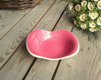 Vintage Side Bowl - French Side Dish - Pink Ceramic Bowl - Vintage Pickle Dish - Salins - Deauville Collection - Made in France