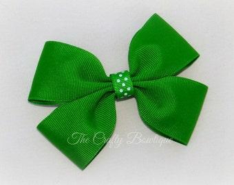 Emerald Green Bow ~ Green Polka Dot Bow ~ Large Green Bow ~ Green Hair Clip ~ Summer Hair Bow ~ Green & White Bow ~ Emerald Hair Bow