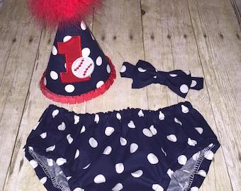 Boys Cake Smash Outfit - Baseball Cake Smash - Navy Red White - Diaper Cover, Bow Tie & Birthday Hat - First Birthday - Boys First Birthday