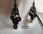 Handmade Fancy Steampunk Earrings with Black Gears and Brass Clock parts in a Dangle style earring, Gift for her, Trending Jewelry