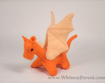 Miniature Orange Felt Dragon Toy