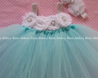 Beautiful baby girl first birthday flower girl party tutu dress in aqua and white with bling straps 6-18 moonths
