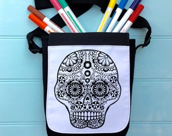 Skull Colour In Bag For iPad across the body strap Colouring in Adult Activity Boys Colour In Handbag Hours Of Fun Colouring In