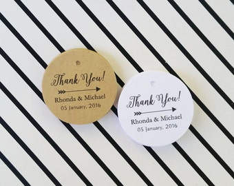 Wedding Favor Tags, Thank You Wedding Tags, Wedding Name Tags, Thank You Tags, Personalized Favor Tags, 24 pcs