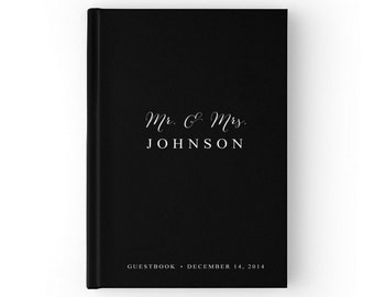 Black Wedding Guest Book, Black and White Wedding, Guest Sign In Book, SKU: GB 039