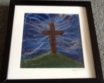 Cross on the hill - Needle Felted picture - Christian Art