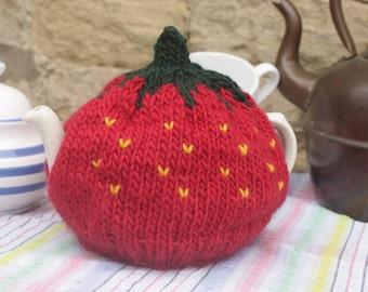 Strawberry Tea Cosy - Size Small or Medium - handmade from 100% natural fibre