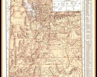 1937 Detailed Map of Utah- ephemera, vintage print, to frame