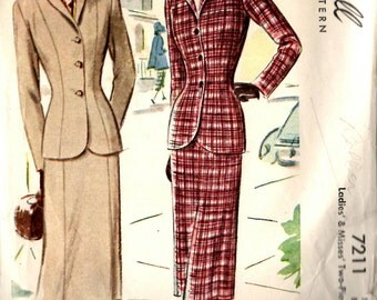 McCall's 7211 Ladies' & Misses' Two-Piece Suit Sewing Pattern 34 Bust