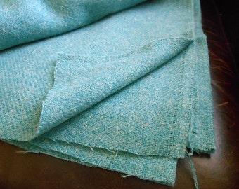 RESERVED - Vintage Estate Wool Fabric Remnant Teal Aqua Color 2 Yards Tweed