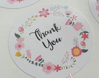 48 x White Gloss Floral Thank You Envelope or Favour Sticker Seals