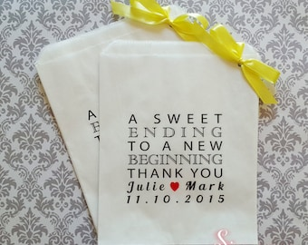 Personalised A Sweet Ending Thank You White Paper Candy Buffet Lolly Bags x 50