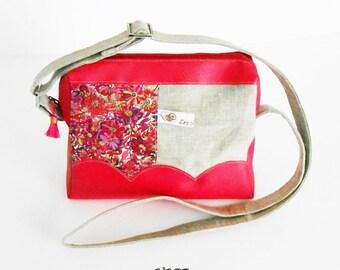 Handbag, satchel bag linen and liberty Willow Rose