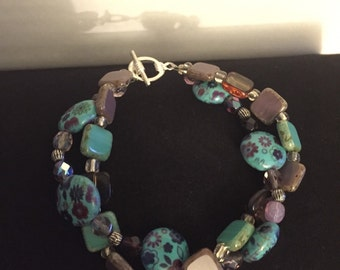 Purple and Turquoise double-strand bracelet