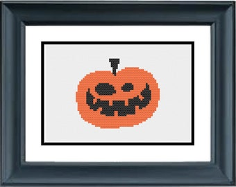 Jack o Lantern Pumpkin - Halloween Cross Stitch Pattern - PDF Cross-Stitch Pattern