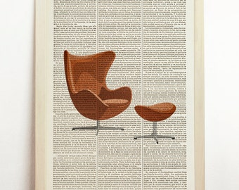 Eames Lounge Poster Charles Eames Print Vintage Illustration Mid Century Danish Modern Furniture Retro Art Upcycled Decor Book Dictionary