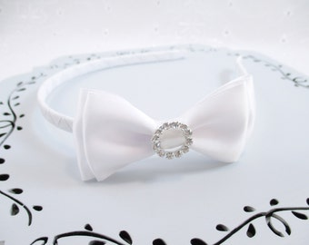 White Rhinestone Headband, Communion Rhinestone Headband, White Flower Girl Bow, White Satin Bow, White Wedding Headband, Communion