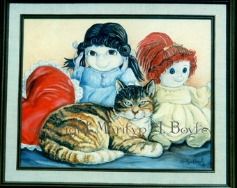 SPECIAL CUSTOM MADE Pet Paintings; whimsical, cute, cat, kitten, dog or puppy, 16 x 20 inch, acrylic, wall art,