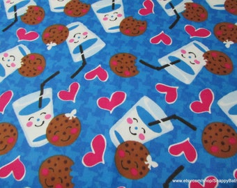 Flannel Fabric - Cookies and Milk - 1 yard - 100% Cotton Flannel