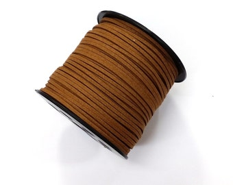 100 Yards x 3mm Vegan Faux Suede Cord  - Light Brown