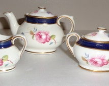 Coalport MIniature Cobalt and Floral Teapot/Tea Pot Creamer and Covered Sugar Bone China Made in England Free Standard Shipping in the U.S.