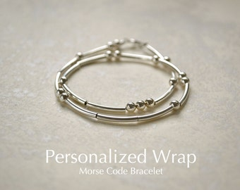 Personalized Wrap Morse Code Sterling Silver Beaded Name Bracelet