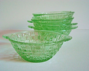 Set of 5 green glass dessert dishes