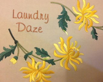 Clothes Pin Bag, embroidered with yellow mums, embroidered peg bag