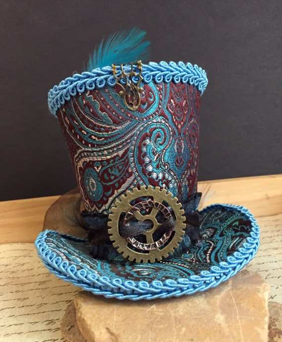 Purple and Teal Steampunk Top Hat with Feathers and large gear and cameo Mad Hatter Wedding Victorian Edwardian Mardi Gras Halloween