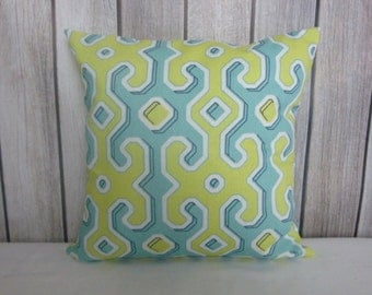 Throw Pillow. Pillow Cover. Green Pillow. Blue Pillow.