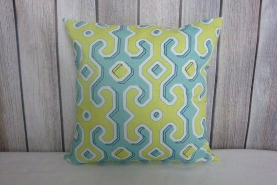 Throw Pillow. Pillow Cover. Green Pillow. Blue Pillow.