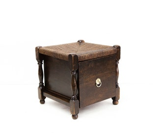 Unique English Rush Stool with Drawer
