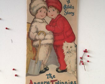 SALE Antique children's picture book The Angora Twinnies 1915  No. 30  Rochester NY Margaret Evans Price Ill MilkweedVintageHome