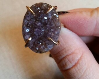 Yellow Gold Filled and Amethyst Drusy Ring