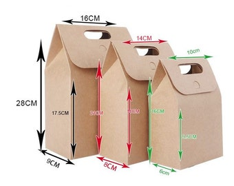 10pcs - 350gram Kraft Paper Bag with handle, THREE SIZES *TEMP003*