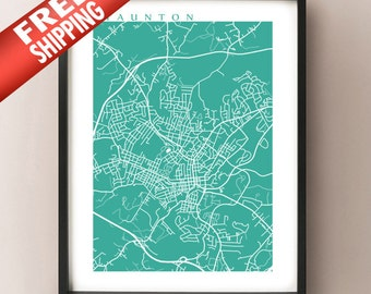 Staunton, Virginia Map Print