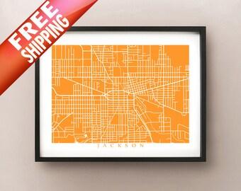 Jackson Map Print - Michigan Poster