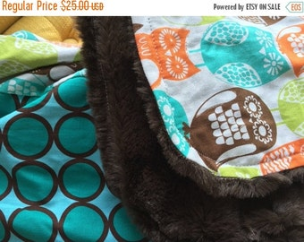 20% OFF SALE SALE - Minky Baby Blanket - Swedish Owls and Aqua Dot with Brown Velvet Minky - Ready to Ship