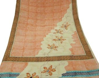 Vintage Saree 5Yards Indian Women Saree Dress Craft Fabric Peach  Georgette Floral Printed Art Deco Used Sari Recycle Drape GR3065