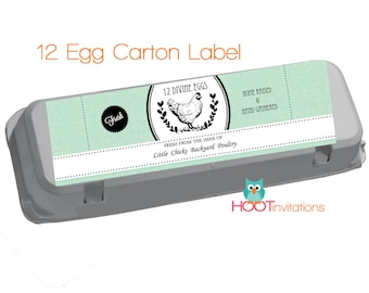 Baby Blue Egg Carton Labels to print at home - one dozen 12 egg label
