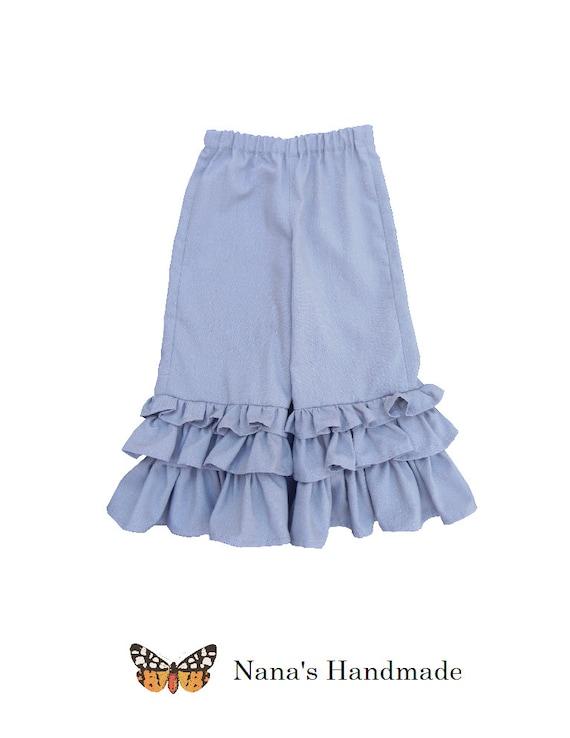 Light Grey Triple Ruffle Linen Pants