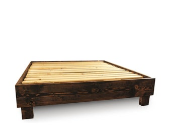 Wood platform bed frame and headboard simple bed frame for Camas rusticas