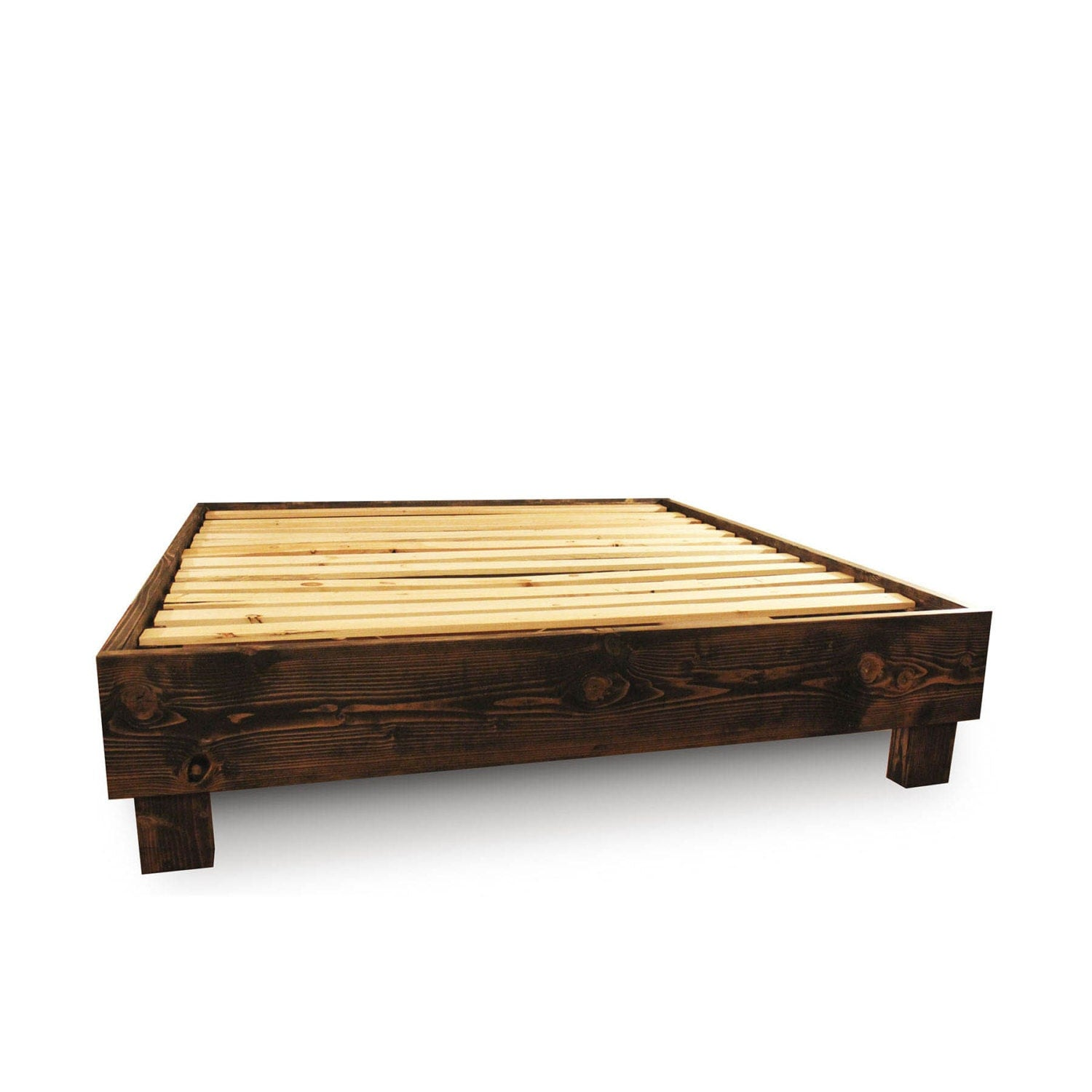 Rustic platform bed frame old world reclaimed wood style Rustic bed frames