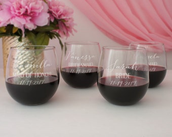 Bridesmaid Monogrammed Stemless Wine Glasses Individually Personalized with Design Option, Element, & Font of Your Choice from our Selection