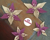 Gold and Burgundy Sports Teams Set Of 4 Paper Layered Lily Flower Wedding Decoration Favor Card Making Invitation