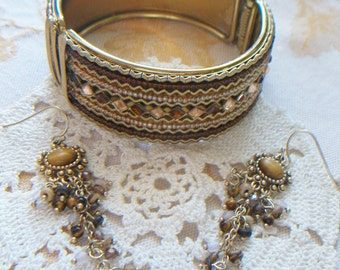Sale ~ Was 24.00! Rhinestone & Beaded Gold Tone Bangle Bracelet with Matching Dangle Earring Set Browns Golds Reds
